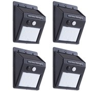 "GHP 4-pcs 12""x9.5""x4.5"" Black Waterproof Wireless Wall Mounted LED Solar Lights"