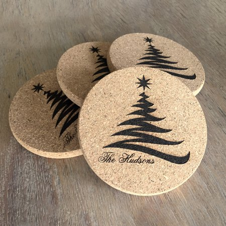Personalized Thick Cork Holiday Coasters – Set of 4 Christmas Tree