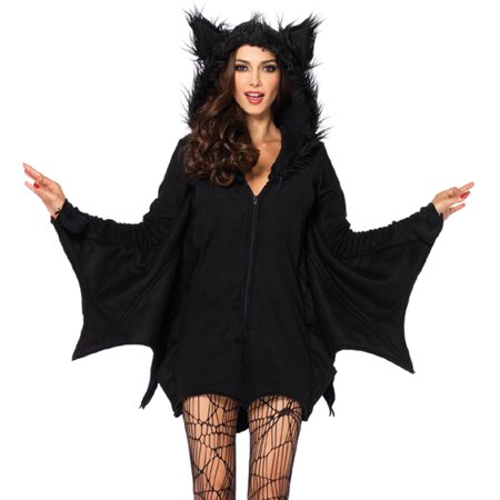 3x Halloween Costume Womens (Leg Avenue Women's Cozy Black Bat Halloween)