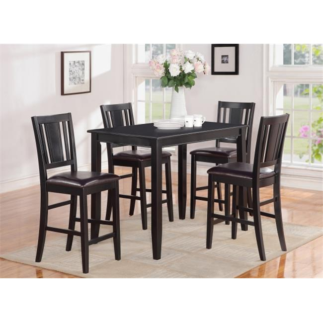 East West Furniture BUCK5-BLK-LC 5 -Piece Buckland Counter Height Table 30 in. x48 in. & 4 Stools with Faux Leather seat in Black Finish