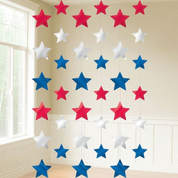 Red, White, and Blue Metallic Stars String Decorations - 7 Inches long