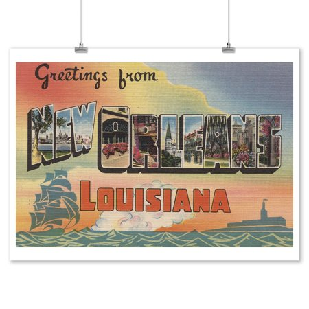 New Orleans Wall Decor (Greetings from New Orleans, Louisiana (9x12 Art Print, Wall Decor Travel)
