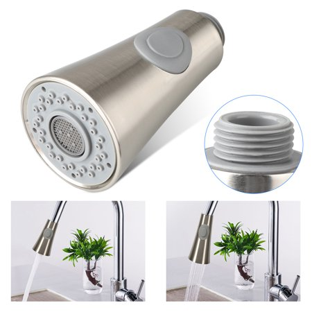 EEEKit Pull Down Faucet Spray Head, Angle Simple Kitchen Sink Faucet Sprayer Head Nozzle Pull Out Hose Sprayer Replacement Part Faucet Head Kitchen Tap Sprayer Spout, Brushed Nickel ()