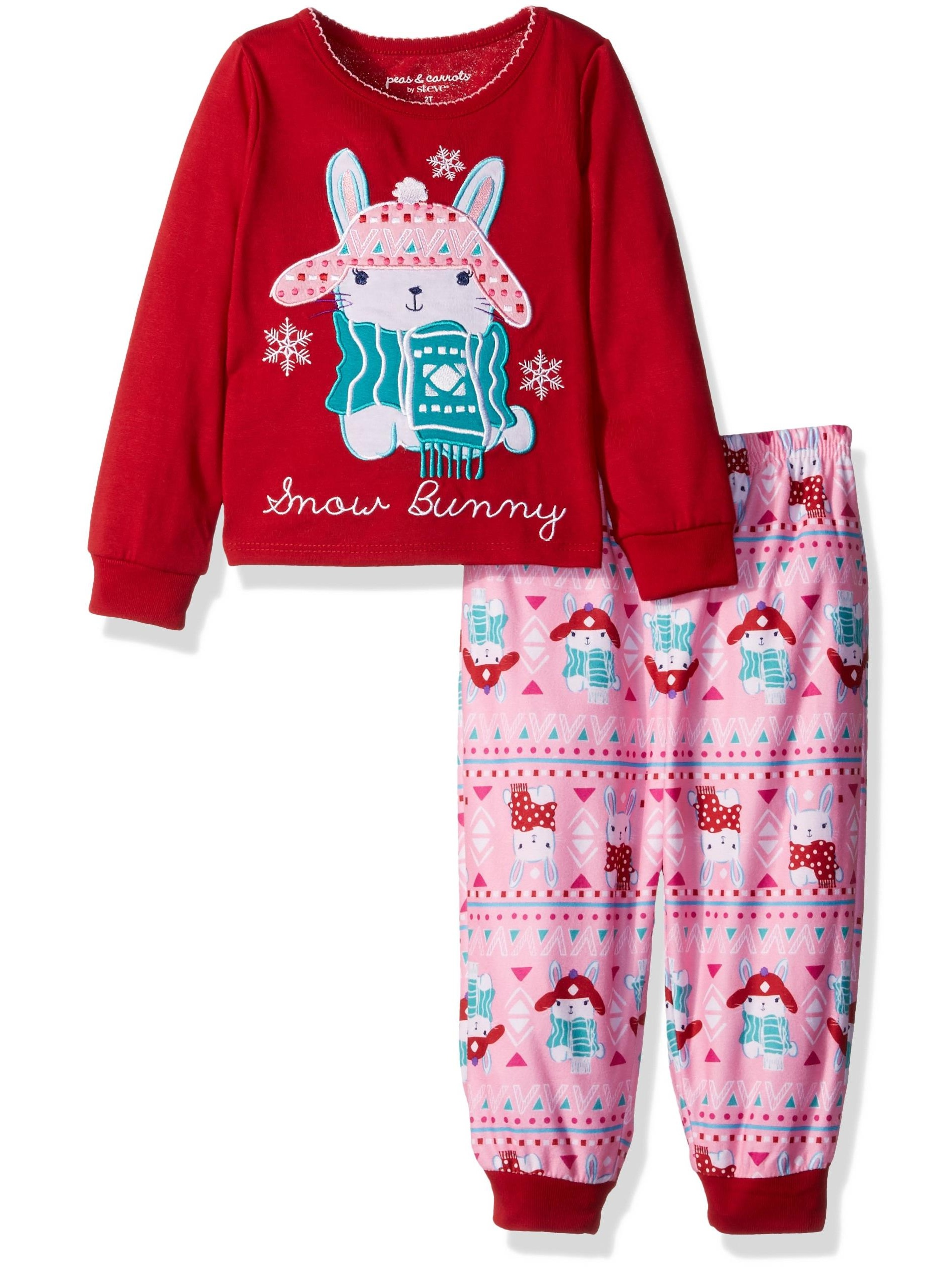 Komar Kids Girls' Snow Bunny 2pc Sleepwear Set