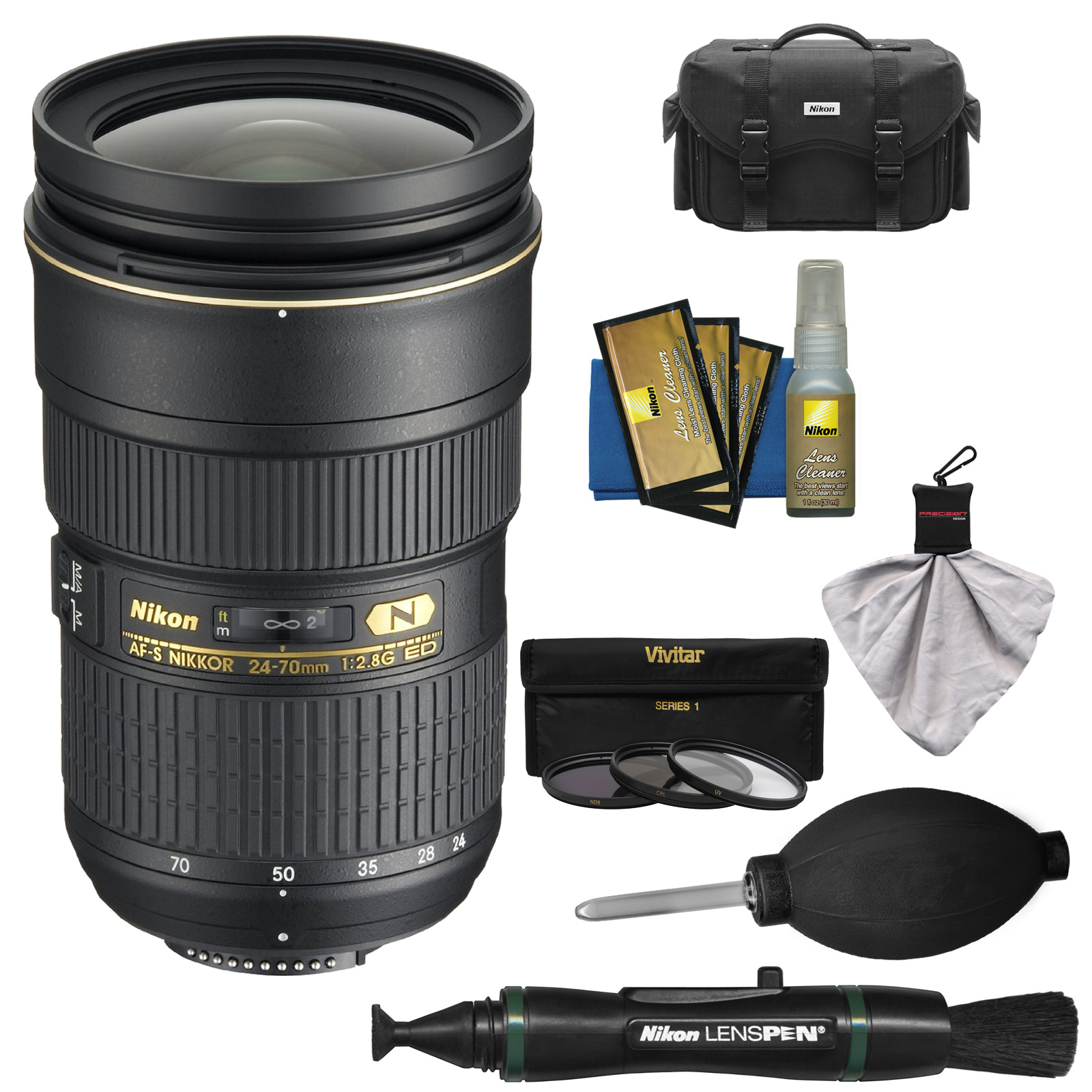 Nikon 24-70mm f/2.8G AF-S ED Zoom-Nikkor Lens with Case + 3 Filter + Kit for D3200, D3300, D5300, D5500, D7100, D7200, D750, D810 Cameras
