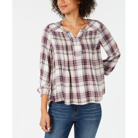 Pintucked Drop (Style Co Plaid Pintucked Peasant Top Alcove Plaid S )