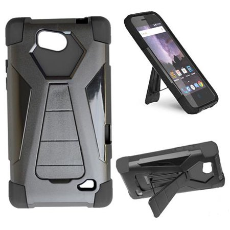 new arrival 90b61 36ab3 Phone Case For TracFone ZTE Majesty Pro (Total Wireless), Straight Talk ZTE  Majesty Pro Plus Rugged Cover ( Wide Stand Black-Black Corner )