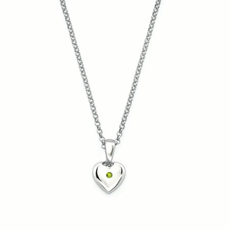 Girl's Sterling Silver Simulated Peridot August Birthstone Pendant - Gay Pride Necklaces