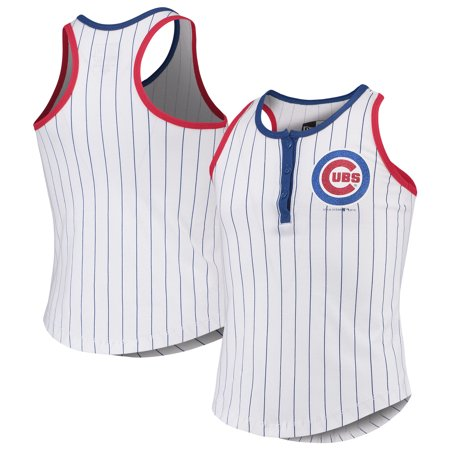 Chicago Cubs New Era Girls Youth Pinstripe Jersey Racerback Tank Top - White/Royal