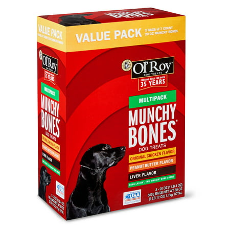 - Ol' Roy Munchy Bones Dog Treats Value Pack, Chicken, Liver & Peanut Butter, 60 oz. (21 Count)