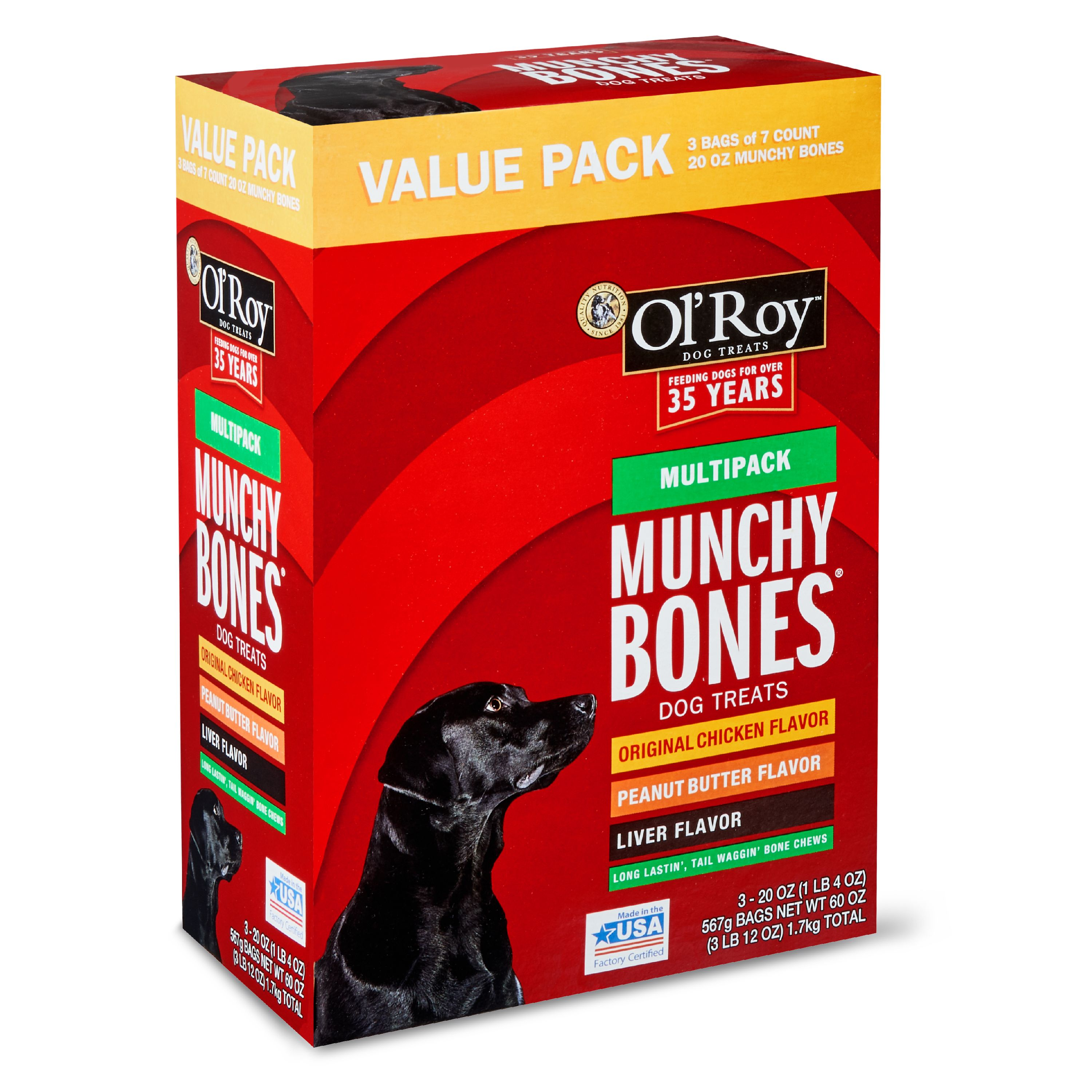 Ol' Roy Munchy Bones Dog Treats, Multipack, Chicken, Liver & Peanut Butter, 60 oz, 21 Count