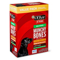 Ol' Roy Munchy Bones Dog Treats Value Pack, Chicken, Liver & Peanut Butter, 60 oz, 21 Count