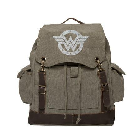 Wonder Woman Logo Vintage Canvas Rucksack Backpack with Leather