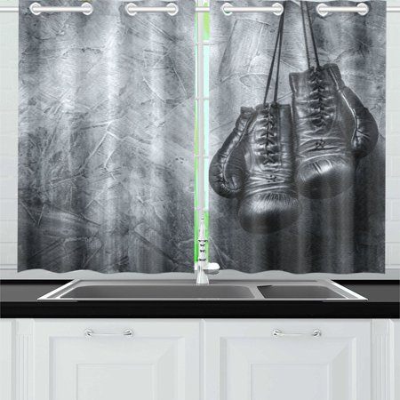 MKHERT Old Boxing Gloves Window Curtain Kitchen Curtains Window Treatments  26x39 inch,Set of 2