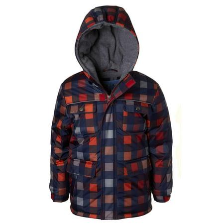 Wippette Buffalo Check Ski Jacket with Fleece Lined Hood (Little Boys)