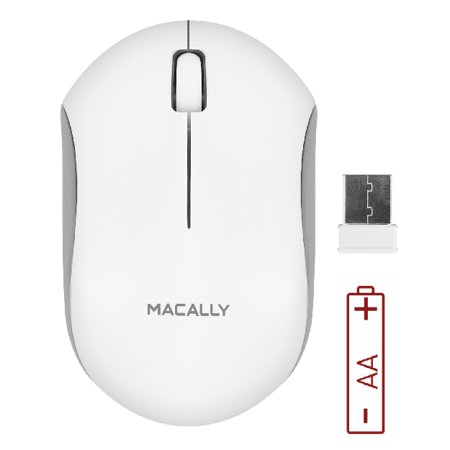 Macally RF Wireless Computer Mouse with 3 Button, Scroll Wheel, 2.4ghz Dongle Receiver, Compatible with Windows PC, Apple MacBook Pro/Air, iMac, Mac Mini, Laptops