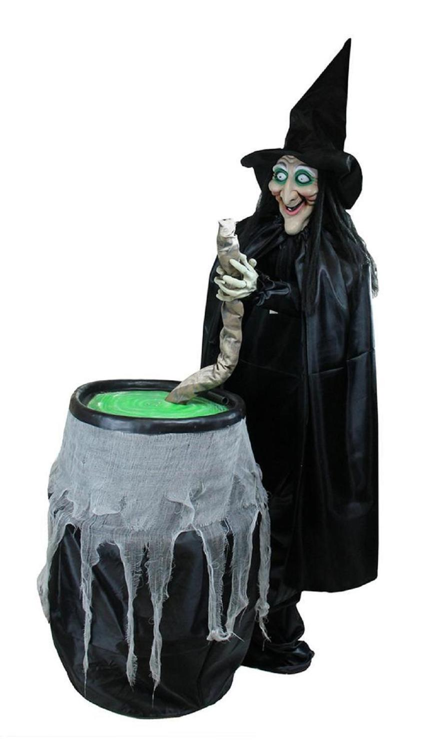5.5' lighted witch and cauldron animated halloween decoration with sound