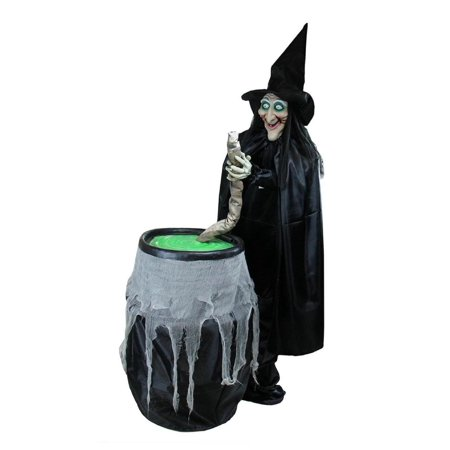 5.5' Lighted Witch and Cauldron Animated Halloween Decoration with - Plastic Witch Cauldron