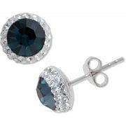 Sterling Silver Halo Blue Sapphire Crystal Stud Earrings