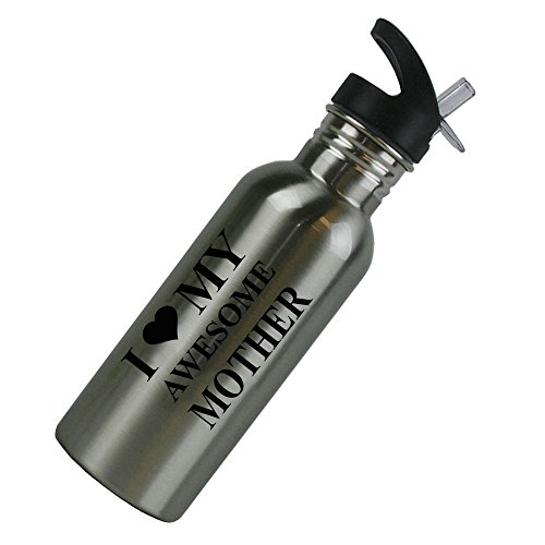 I Love MY Awesome Mother Stainless Steel Silver 20 Oz (600mL) Water Bottle with Sport Top, Straw