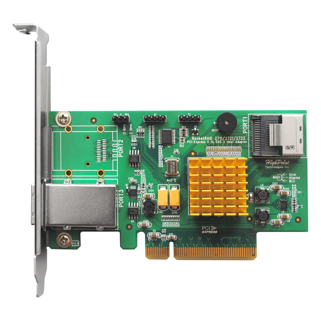 Highpoint Rocketraid 2721 Sas Raid Controller - Serial Ata/600, Serial Attached Scsi - Pci Express 2.0 X8 - Plug-in Card 0, 1, 5, 10, 50, Jbod Raid Level (rocketraid2721)