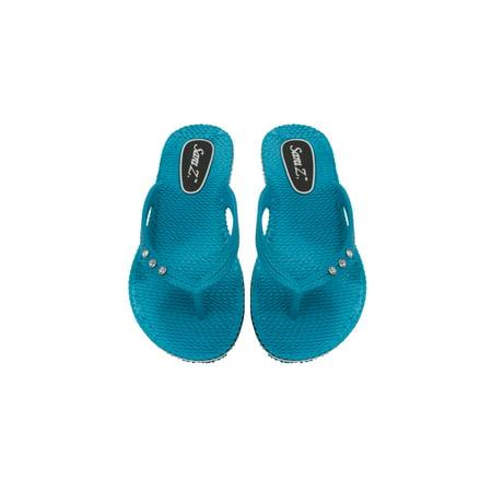 9555d4fd7c9c3 Sara Z Ladies Comfort Flip Flops With Rhinestones - Walmart.com