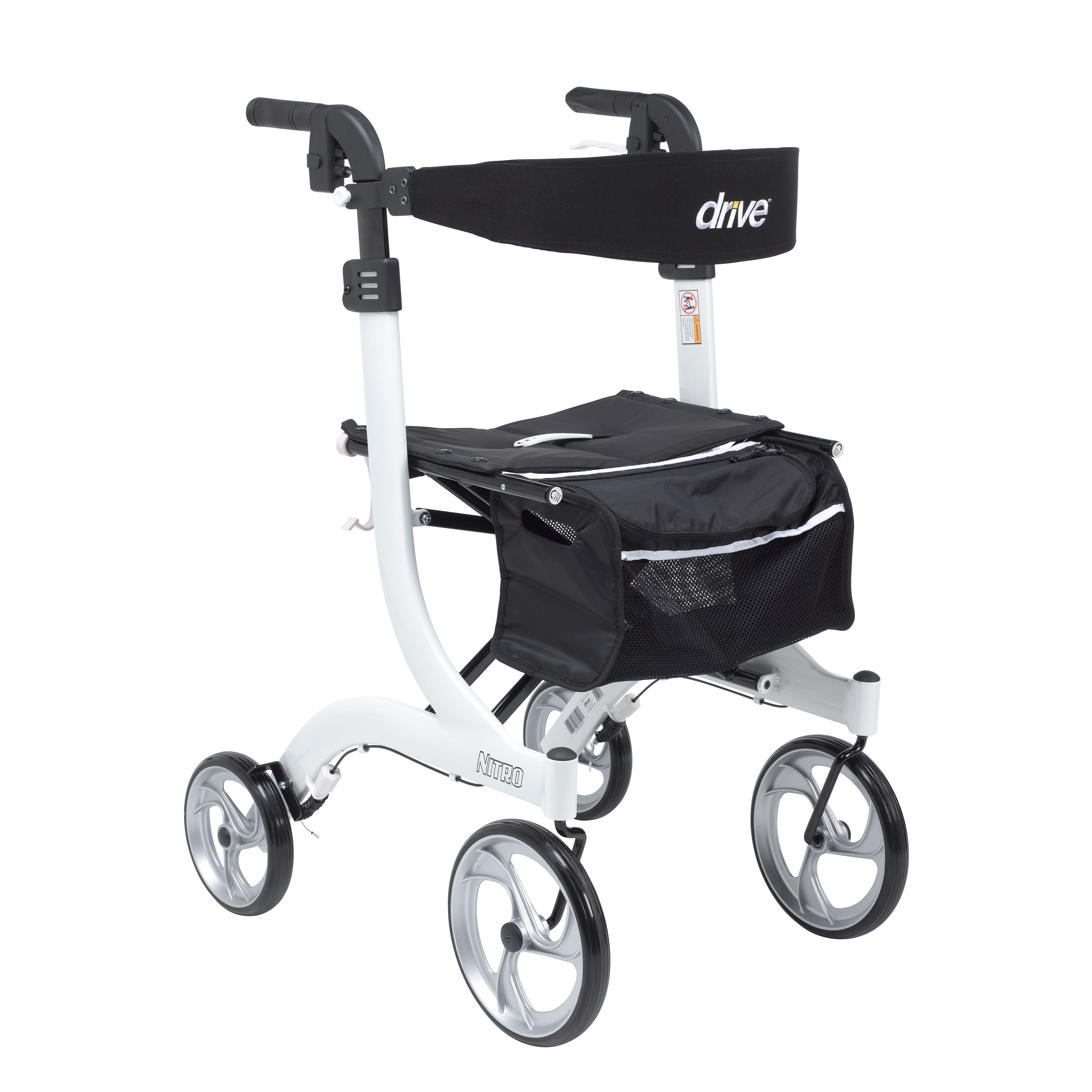 Drive Medical Nitro Euro Style Rollator Rolling Walker, Tall, White
