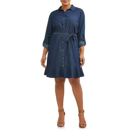 Woman's Plus Size Roll Cuff Chambray Shirt Dress with Ruffle Skirt - Dress With Ruffles