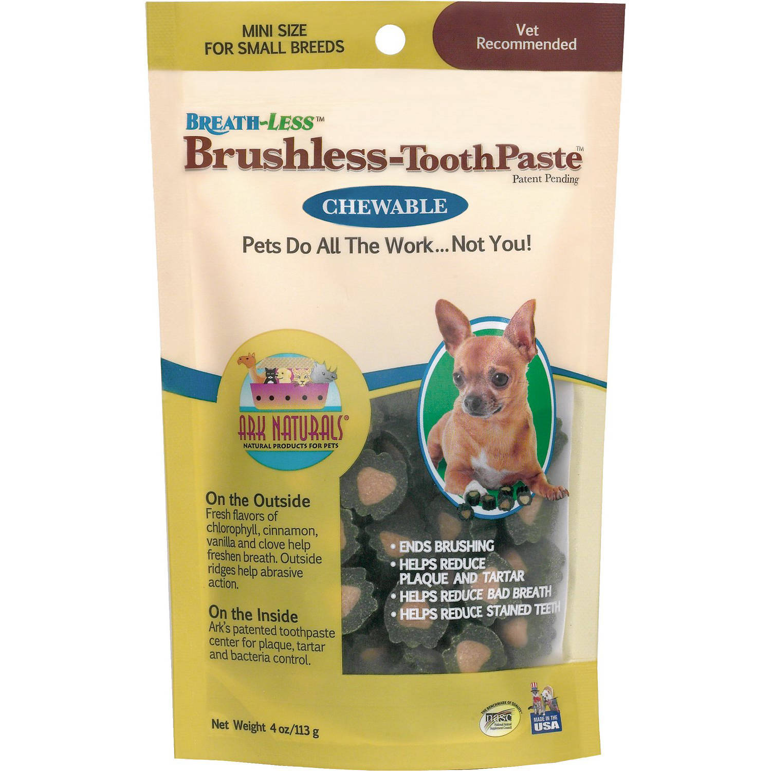 Ark Naturals Brushless-Toothpaste, Breath-Less, Small Breed Mini Chews, 4 oz
