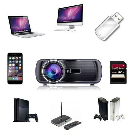 1000 Lumens Portable Hd 3D Led Projector Home Cinema Theater Vga Usb Av Hdmi
