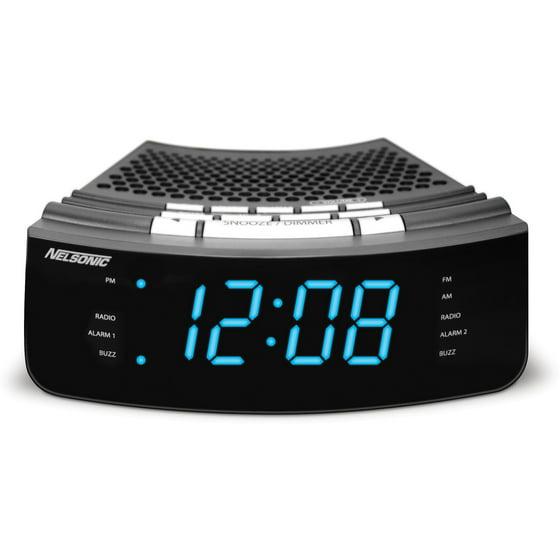 Ns Blue Led Clock Radio With Digital Tuner Walmart Com
