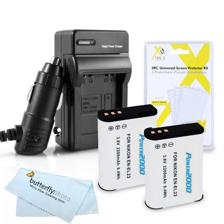 - 2 Pack Battery And Charger Kit For Nikon COOLPIX P900, P610, P600, B700 Digital Camera  Includes 2 Extended Replacement (2200Mah) EN-EL23 Batteries + Ac/Dc Rapid Travel Charger + Screen Protectors