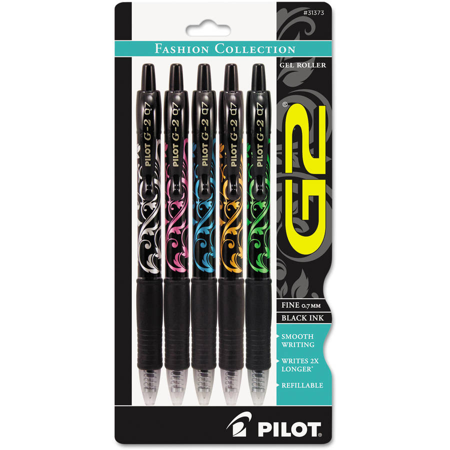 Pilot G2 Fashion Premium Retractable Gel Ink Pen, Black Ink/Asst. Barrels,.7mm, 5/Pack