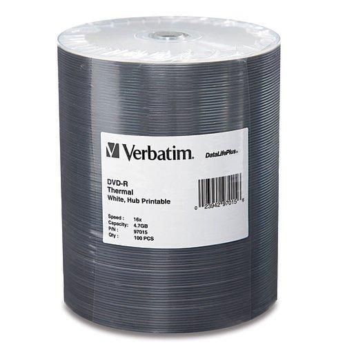 Verbatim 97015 Disc Dvd-r 4.7gb 16x Wht Thermal Hub Printable Datalife + 100pk Tape Wraphub Printable Datalife + 100pk Tape Wrap (ver97015)