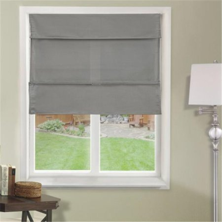 Natural Woven Fabric Cordless Magnetic Roman Shade, Daily Grey - 35 x 64 in.