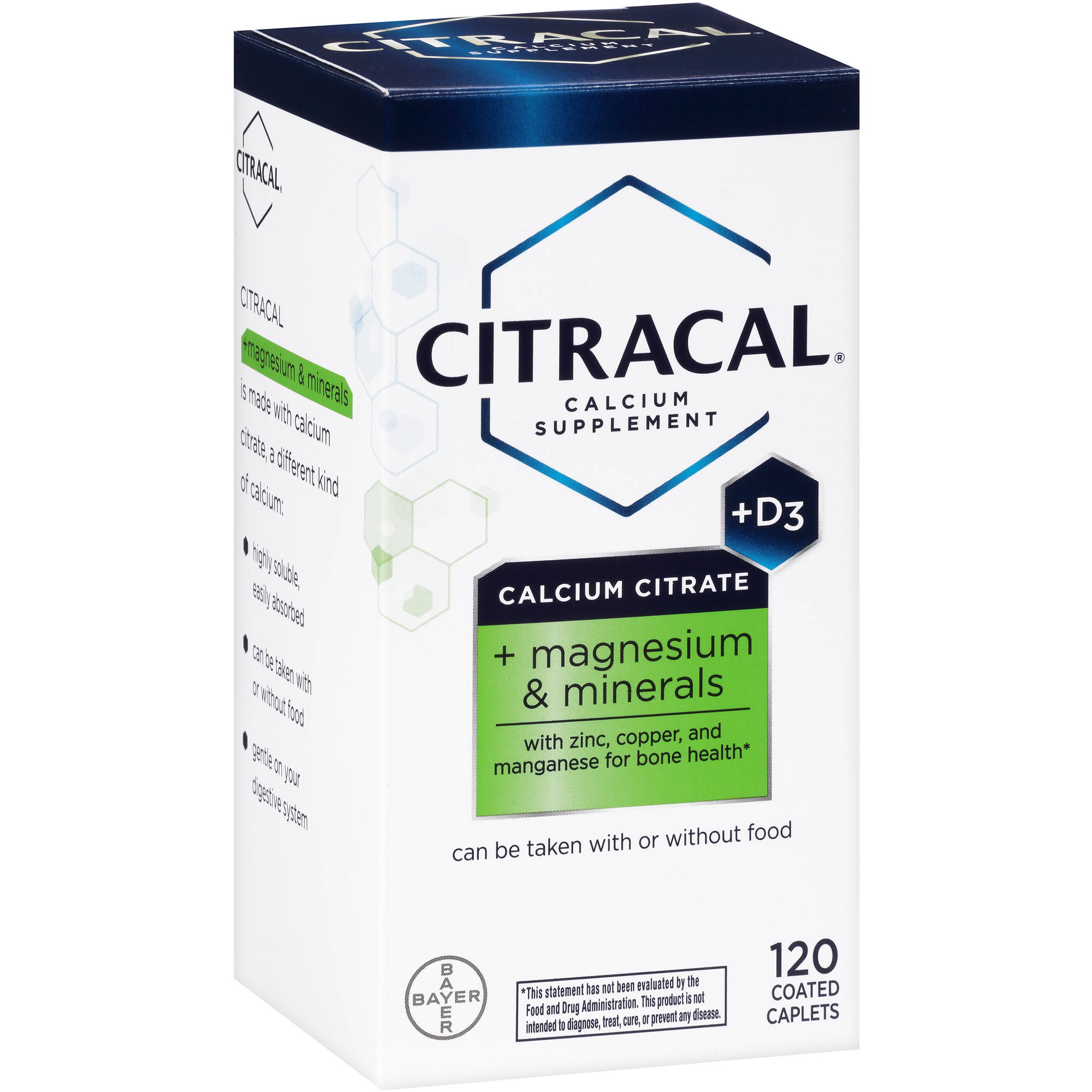 Citracal Calcium Citrate   D3   Magnesium & Minerals Calcium Supplement, 120 count