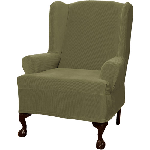 Maytex Stretch Collin 1 Piece Wingback Armchair Furniture Cover Slipcover, Gold by Maytex