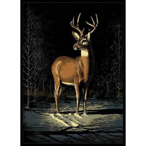 "United Weavers Elements Deer in Winter Woven Polypropylene Area Rug, Multi, 5'3"" x 7'2"""