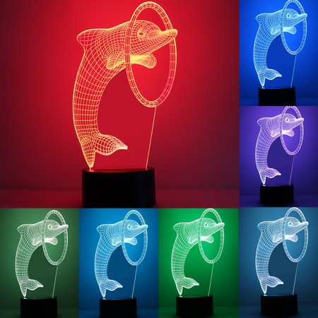 Fashion Exquisite 3D Optical Dolphin Night Light 7 Colors Change Touch Switch  LED Desk Table Lamp Gifts Home Art (Exquisite Fashion)