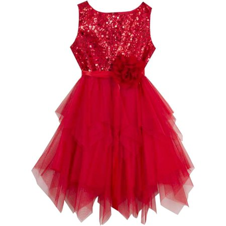 Rare Editions Little Girls Red Sequin Tutu Dress Sleeveless  5 ()