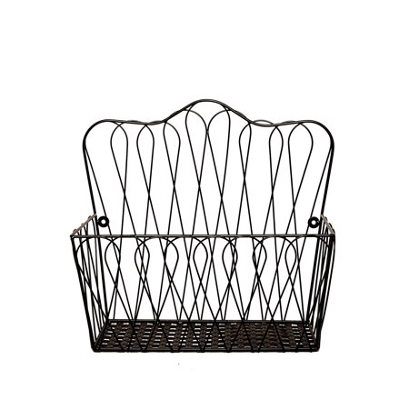 JMiles UH-HB236 Wall Mount Wire Basket for Magazines, Fruit, and Files - Wall Mounted or Freestanding Countertop ()
