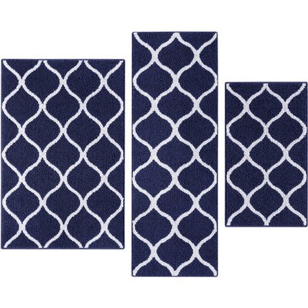 Mainstays Sheridan Fret Olefin High Low Loop 3-Piece Accent Rug Set