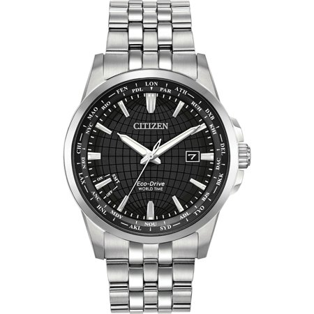 Citizen BX1000-57E Men's Eco-Drive Stainless World Time Black Dial