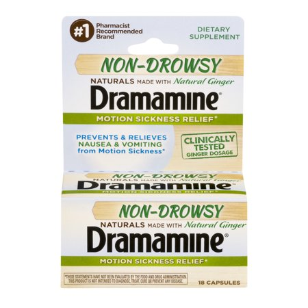 - Dramamine Motion Sickness Relief Non-Drowsy Naturals With Natural Ginger Capsules - 18 CT