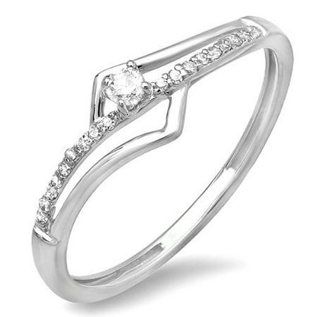 0.10 Carat (ctw) 18k White Gold Round Diamond Wave Ladies Bridal Promise Engagement Ring 1/5 CT