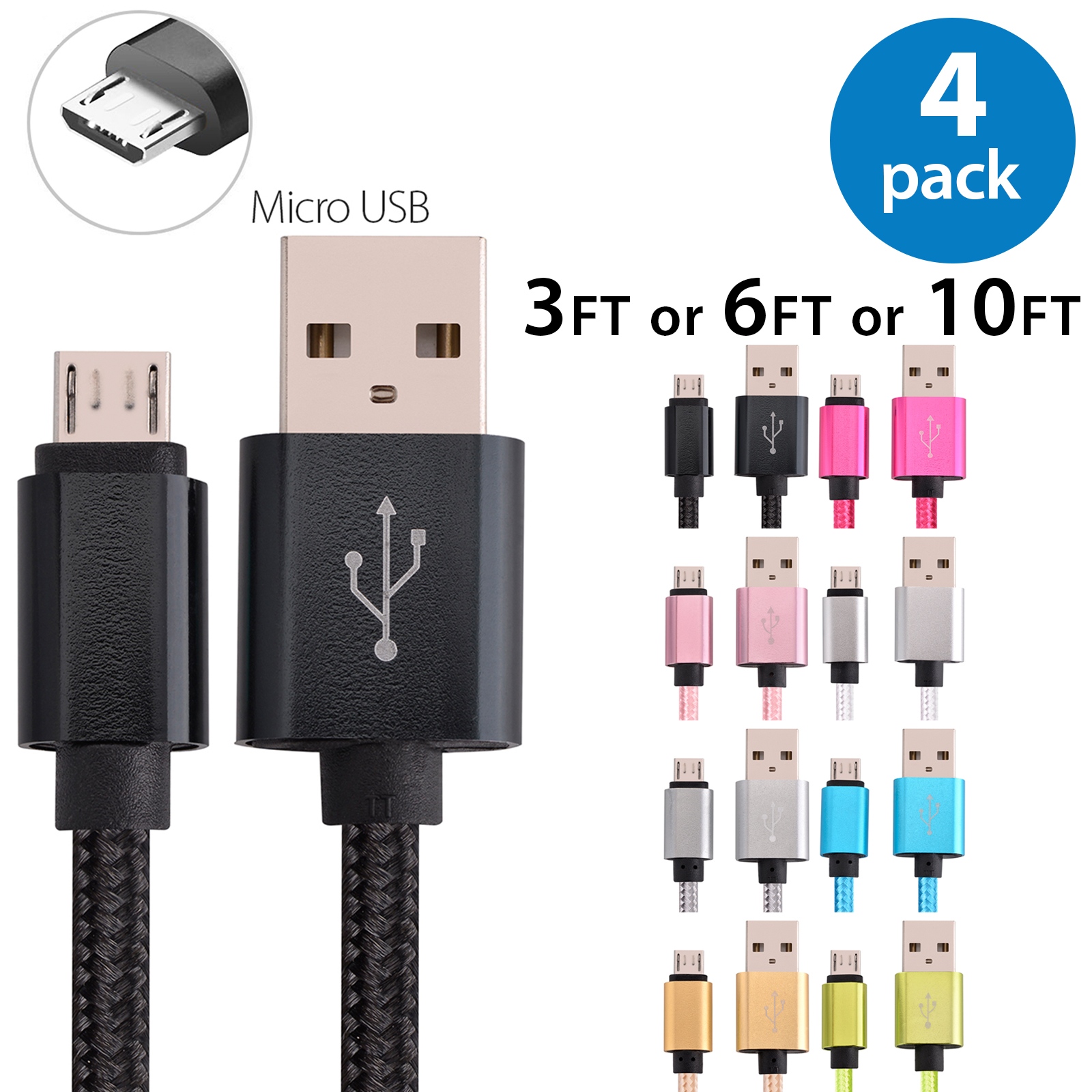 4x 10FT Afflux Micro USB Adaptive Fast Charging Cable Cord For Samsung Galaxy S7 S6 Edge S4 S3 Note 2 4 5 Grand Prime LG G3 G4 Stylo HTC M7 M8 M9 Desire 626 OnePlus 1 2 Nexus 5 6 Nokia Lumia Black