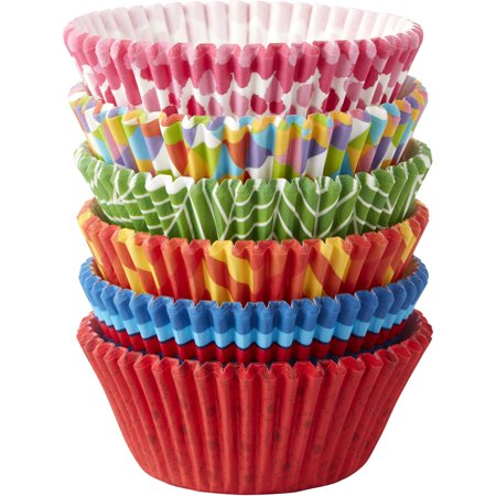 Wilton Stripes and Polka Dot Cupcake Liners, - Green Mini Cupcake Liners
