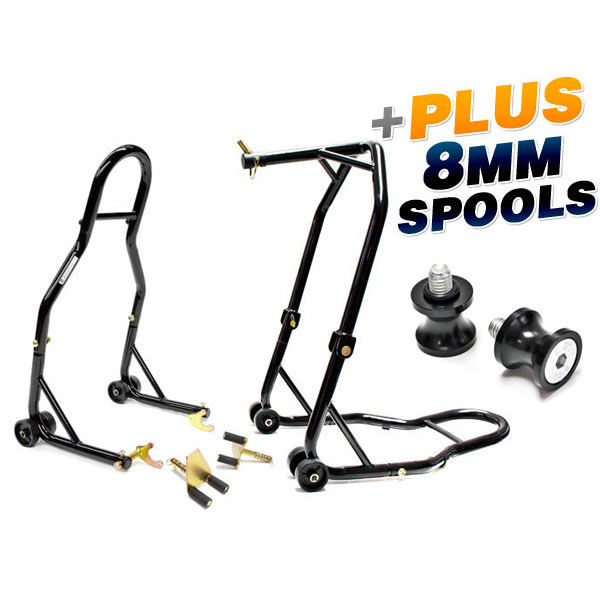 w//Spools For Suzuki GSX-R 1000 2001-2012 Motorcycle Front+Rear Dual Lift Stand