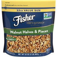 FISHER Chef's Naturals Walnut Halves & Pieces, No Preservatives, Non-GMO, 32 oz