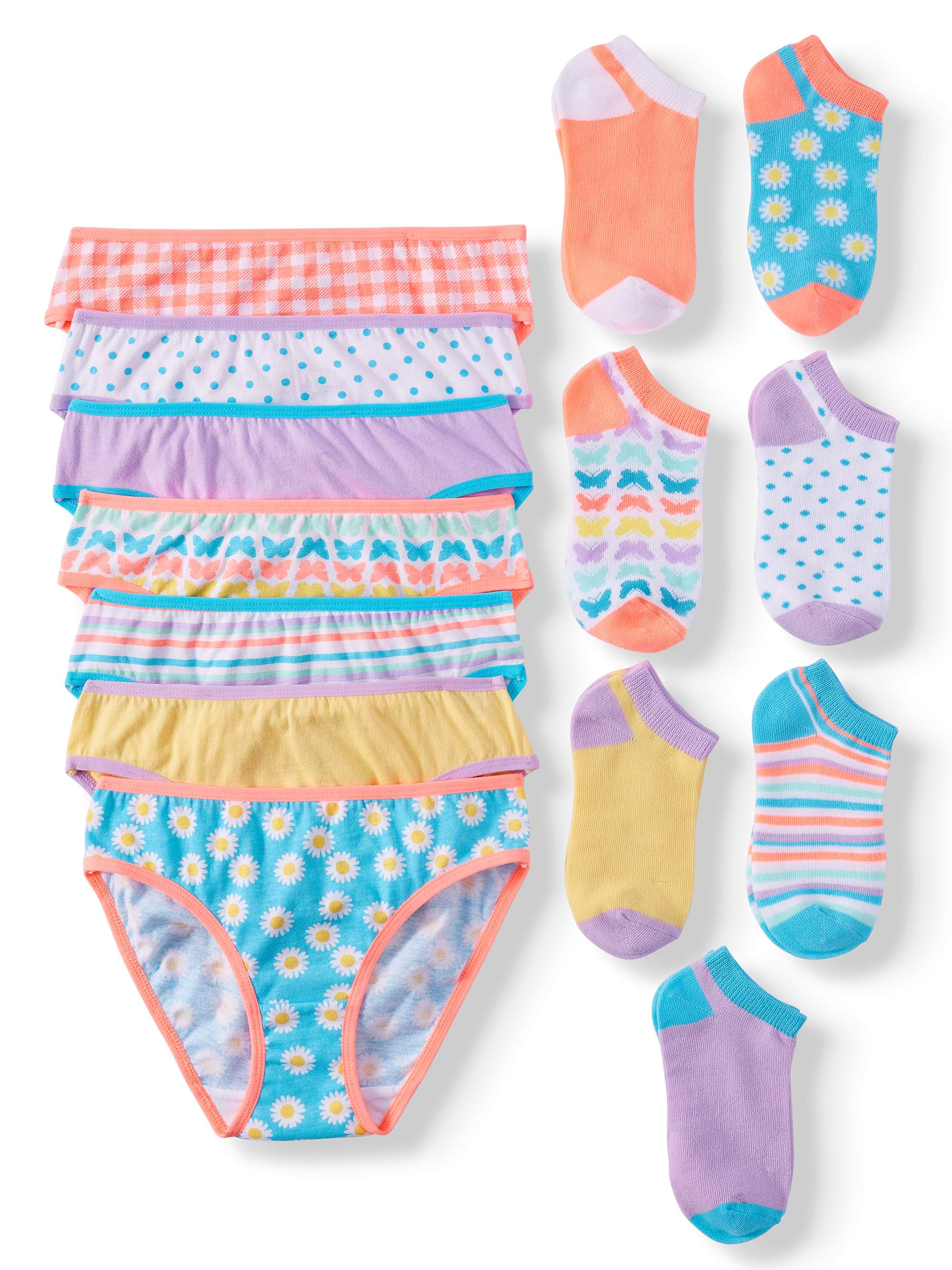 f778f5863294 Wonder Nation - Wonder Nation Girls' 100% Cotton Bikini Panty and Socks, 14- Pack - Walmart.com